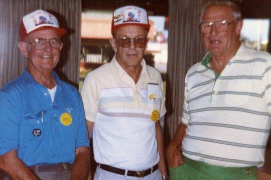 Captain Albert Becker (from left), Cobia crewman Dan Peltonand pilot Richard Benson at the 1988 Cobia crew reunion.