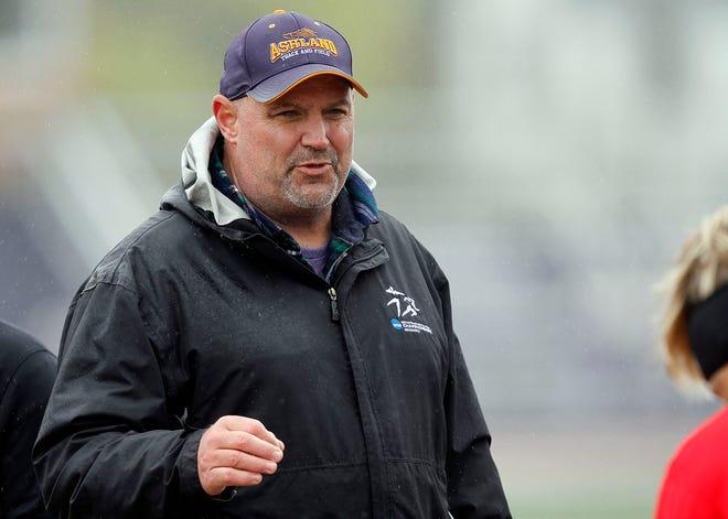 Ashland University head coach Jud Logan at the Alumni Open hammer throw Friday, April 19, 2019 at Ferguson Field.