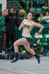 Galion grad Marisa Gwinner has gradually increased the speed on her approach in her quest to clear 6 feet in the high jump for Tiffin University