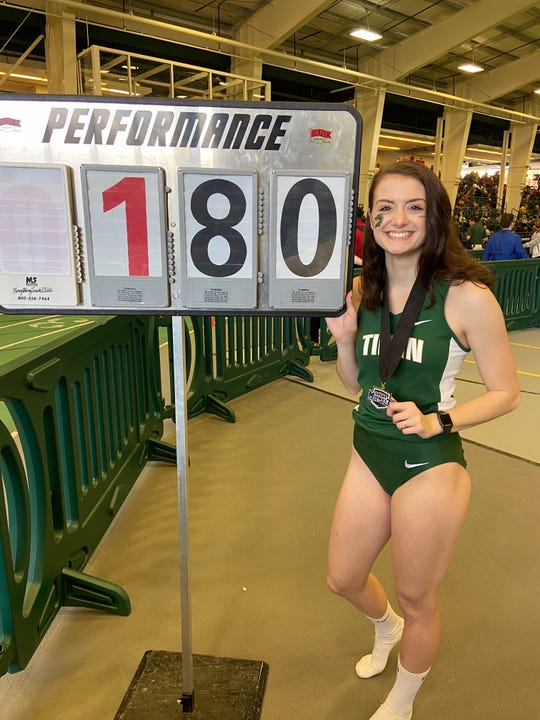 Galion grad and Tiffin University sophomore Marisa Gwinner after clearing the top height in the nation (1.80 meters or 5 feet-10.75 inches) among NCAA Division II high jumpers to win a Great Midwest Athletic Conference indoors title.