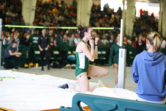 Galion grad Marisa Gwinner reacts after clearing the high jump bar at an NCAA Division II-best 1.80 meters (or 5-10.75) for Tiffin University to win the Great Midwest Athletic Conference indoor title.