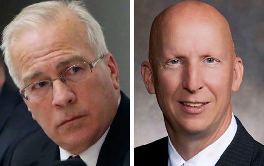 GOP Sens. Steve Nass, left, of Whitewater and Duey Stroebel, right,  of Cedarburg.