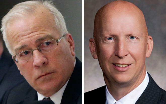 GOP Sens. Steve Nass, left, of Whitewater and Duey Stroebel, right,  of Cedarburg.