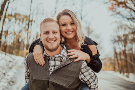 Hannah Koepp, pictured with her fiance Benjamin Landvatter, is one of the participants in Hubertus' Amelishan Bridal wedding gowngive away. Amelishan Bridal is giving away 10 gowns to health care workers through an online voting contest. Koepp is a radiologic technologist for both Froedtert Menonomee Falls Hospital and Aurora Health Care.