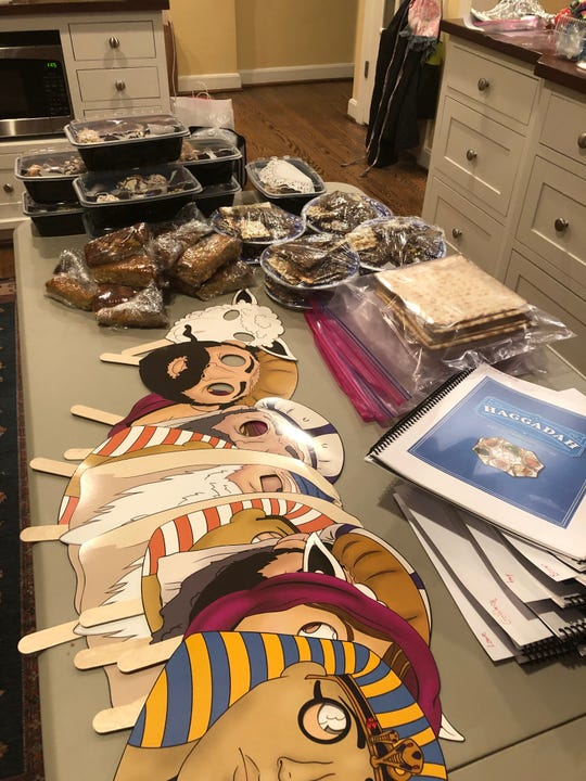 Ruth Lebed packaged individual Passover meals for her family and friends who participated in a virtual Seder this year. She also provided copies of the Haggadah, or the Jewish text that lays out the order of the Seder.
