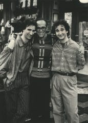 "Producer Thomas L. Miller, center, poses with the stars of the 1980s sitcom ""Perfect Strangers,"" Bronson Pinchot (left) and Mark Linn-Baker."