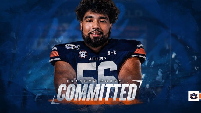 Akron offensive tackle Brandon Council committed to Auburn as a graduate transfer on April 9, 2020.