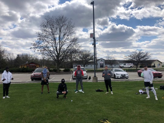 From left to right, David Bell (Warren Central, Purdue), Eli Pancol (Pendleton Heights, Duke), Cam Gillentine (Muncie Central, Ball State), Julius Brents (Warren Central, Iowa), Walker Moore (Yorktown) and Austin Hill (Yorktown) all trained April 10, 2020 with former Ball State football player Jamill Smith Sr. Smith trains area athletes.