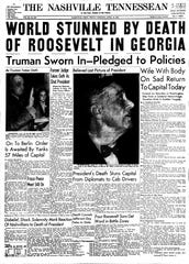 The Tennessean front page, April 13, 1945.