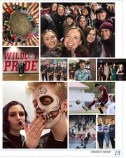 Photos from the 2019-20 Newark High School yearbook are shown on a page.