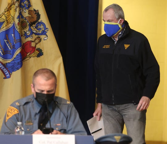 NJ State Police Superintendent Pat Callahan as New Jersey Governor Phil Murphy enters his daily press briefing at the the War Memorial in Trenton, NJ on April 10, 2020, regarding updates on the corona virus.