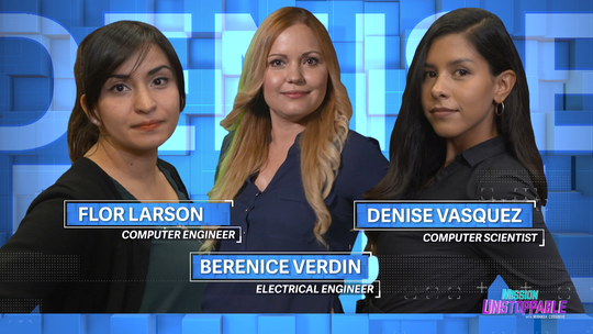 """Flor Larson, Berenice Verdin, Denise Vasquez and Elizabeth Ortiz (not pictured) will all be featured on the CBS series """"Mission Unstoppable."""" All four women are based out of White Sands Missile Range and all are cybersecurity specialists who keep the U.S Army's computer data safe from hackers and outside attacks."""