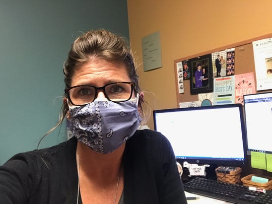Courtesy photo of a face mask worn by Laborcita Canyon resident Deb Vire's daughter, Jamie, at Sullivan County Community Hospital in Sullivan, Indiana.