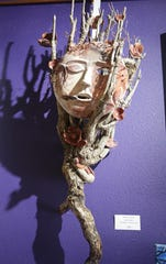 This driftwood and ceramic piece by karen Ellsbury is featured in the Virtual Spring Art Walk being organized by the Farmington Convention & Visitors Bureau.