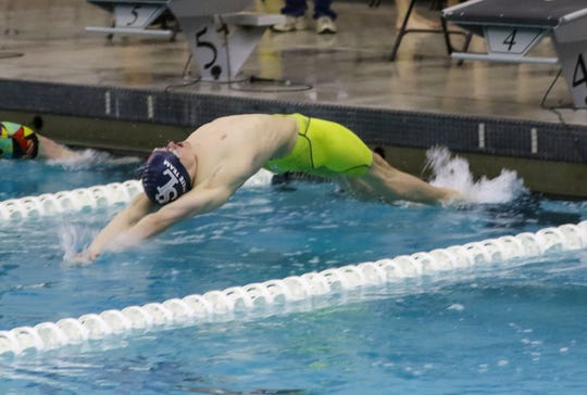 South Lyon United's Jared Keeney placed first in the 100 yard backstroke.