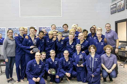 The South Lyon United boys swim team won the LVC championship for the third year in a row.