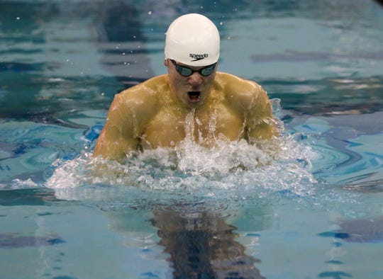 South Lyon United's Max Topping took first place in the 100 yard breaststroke.