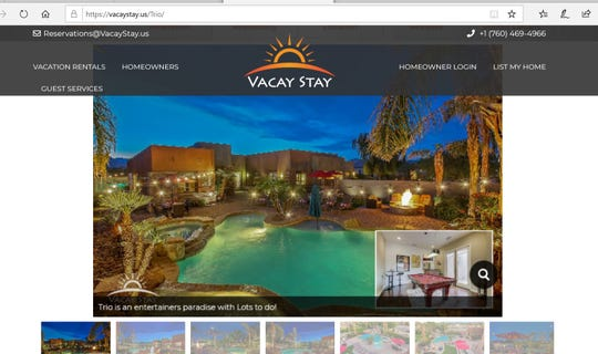A screenshot of a short-term rental ad for the property at 81025 Tranquility Drive in the Montage community in Indio. The residence was completely destroyed by fire early Thursday, April 9, 2020. Neighbors contend the property was being rented by its owners in violations of restrictions on such properties as a result of the coronavirus pandemic. The screenshot was taken at 5 p.m. Thursday, April 5, 2020.