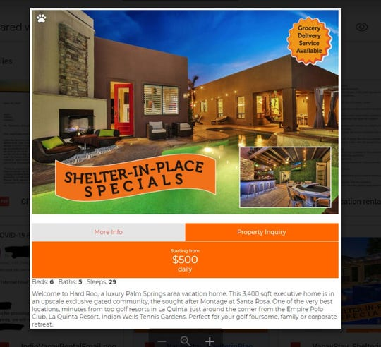 "A screen grab taken around 5 p.m. Thursday, April 9, 2020 of a ""shelter-in-place"" ad from vacaystay.us, advertising a short-term vacation rental in the Montage gated-community in Indio."