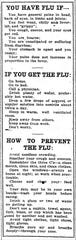 A guide to symptoms of the flu and its prevention as featured in The Arizona Republican's Nov. 3, 1918, issue.