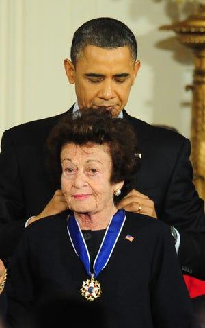 Former President Barack Obama awards Holocaust survivor Gerda Weissmann Klein with the 2010 Presidential Medal of Freedom on Feb. 15, 2011.
