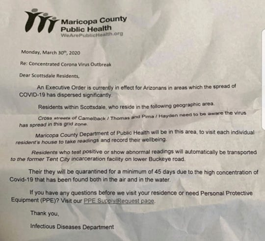 A coronavirus hoax letter being circulated in Scottsdale.