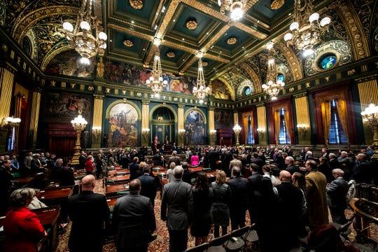 Lt. Gov. John Fetterman is sworn in by Judge Deborah Kunselman during a Jan. 15, 2019, ceremony in the Senate chambers at the Pennsylvania State Capitol in Harrisburg.