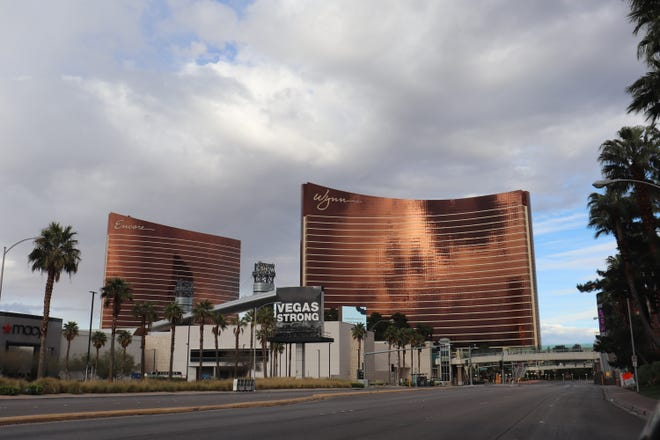 Wynn and Encore on the empty Las Vegas Strip on April 9, 2020.
