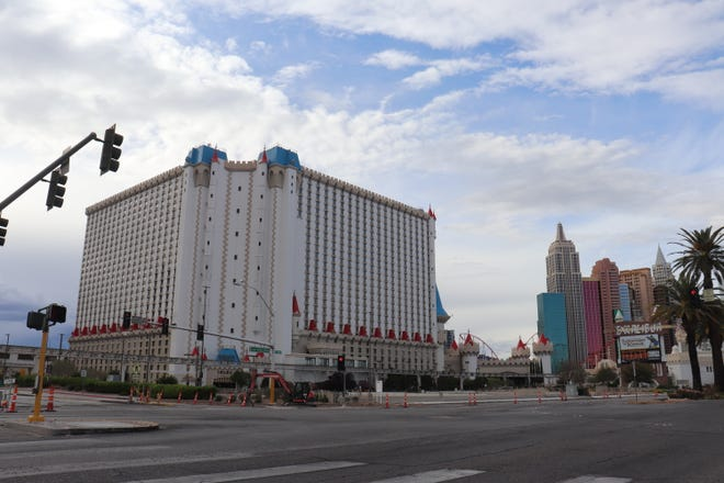 The sidewalks and intersections near Excalibur and New York New York were empty on April 9, 2020.