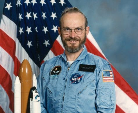 Publicity photo of Loren Acton prior to the Spacelab 2 shuttle mission