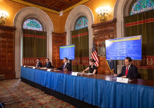 Gov. Andrew Cuomo provides a coronavirus update during a press conference in the Red Room at the State Capitol on April 10, 2020.