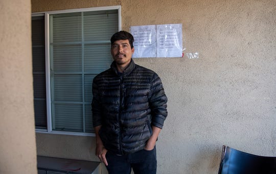 Jesus Francisco Meza Uriarte is photographed just right outside of his room located in the Budget Inn Motel in Salinas on April 2, 2020.