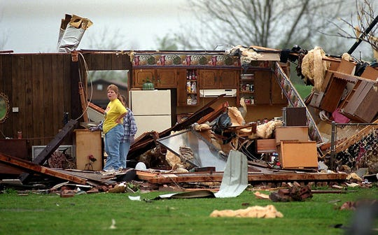 Rubble and debris is all that is left of the Hay Meadow Mobile Home Estates in Bossier Parish, La. after a tornado hit north Louisiana April 4, 1999.
