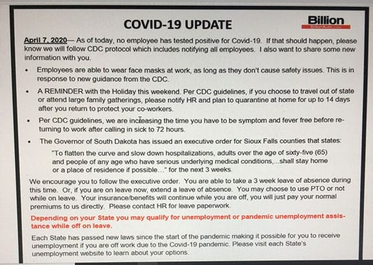 An April 7 notice posting from Billion Auto for employees, notifying them of the company's policies regarding the latest executive order from Gov. Kristi Noem.