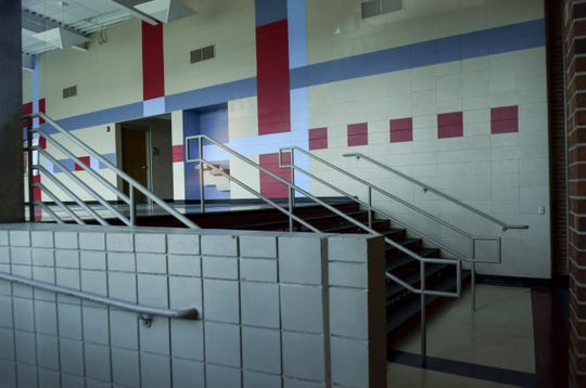 Lincoln High School's hallways are empty as Sioux Falls schools are closed to prevent the spread of the coronavirus on Friday, April 10, 2020 in Sioux Falls, S.D.