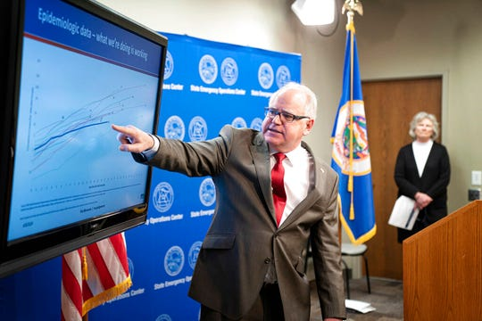 Minnesota Gov. Tim Walz provides an update on the state's next steps to respond to COVID-19 during a news conference on Wednesday, April 8, 2020 in St. Paul.