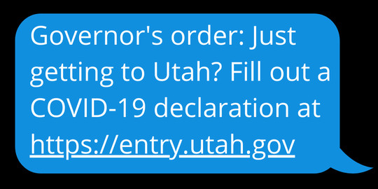 The text message travelers will receive when entering the state.