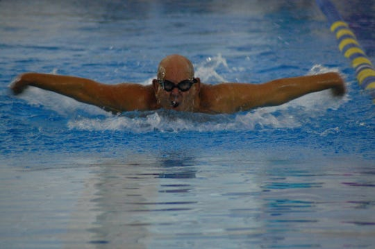 Swimming action from the Capital City Senior Games.