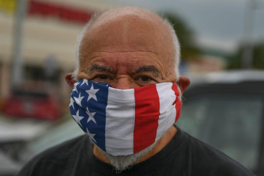 """Richard Greco, of Sebastian, made a mask from a bandana he bought online. Greco wears the bandana mask, """"probably for the comfort of everyone else."""""""