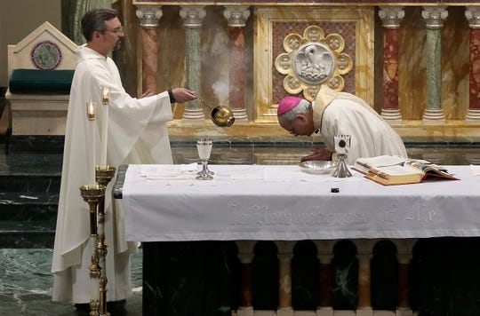 Bishop Mark Seitz live streamed his Holy Thursday Mass from St. Patrick Cathedral. The mass was done via live stream to respect Coronavirus social distancing regulations.