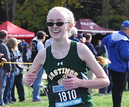 Hastings' Caitlin Guilfoyle, shown taking silver during 2017 Section 1 Class C cross-country championship, will most likely attend and compete for Worcester Polytechnic Institute next  year.