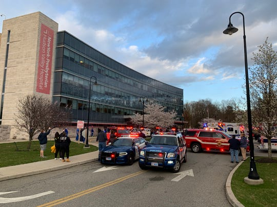 At the NewYork-Presbyterian Hudson Valley Hospital in Cortlandt Manor, several local fire, police and EMS departments paid tribute to all the healthcare workers at the hospital, April 9, 2020. Participating departments included, Continental Village Fire Department, Peekskill Fire Department, Peekskill EMS, Peekskill Police Department, Putnam County Sheriffs Office, Lake Mohegan Fire Department, Mohegan EMS, Cortlandt EMS, Putnam Valley Fire Department, Somers Fire Department, New York State Police, Buchanan Fire Department, Westchester County Police, Garrison EMS, Mobile Life EMS, EMStar, Ossining Fire Department and Croton Fire Department.