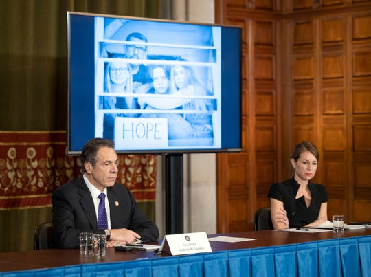 Governor Andrew Cuomo at a coronavirus press conference Friday in the Red Room at the State Capitol.