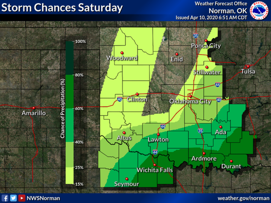 Storm chances will increase on Saturday, mainly across the south.