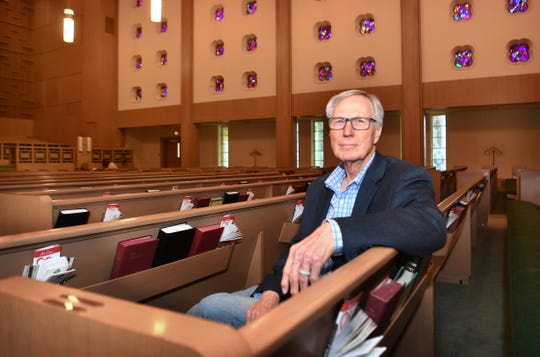Easter Sunday will mark Pastor Ike Butterworth 's last sermon from the pulpit at First Presbyterian Church as he prepares to retire next month. The sanctuary will be empty due to the pandemic shutdown.