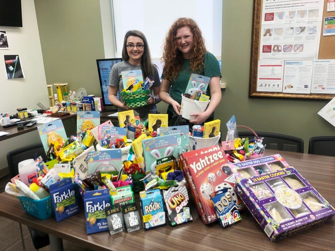 Genesis nurses  Olivia Barclay and Kelsey Green, right, spearheaded an effort to make Easter baskets for the residents of the Avondale Youth Center.