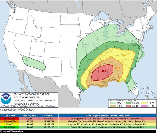 Severe thunderstorm outlook for Sunday, April 12, as of April 10.