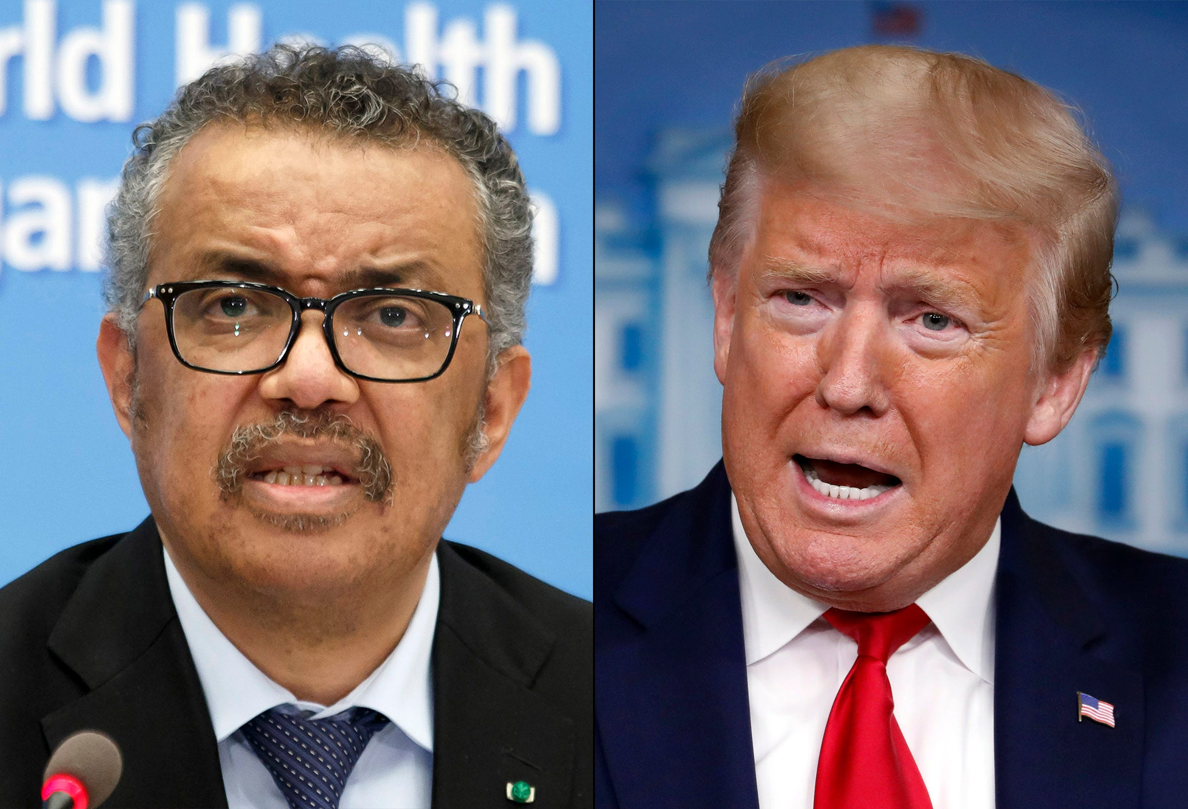 From left, World Health Organization director Tedros Adhanom Ghebreyesus and US President Donald J. Trump.