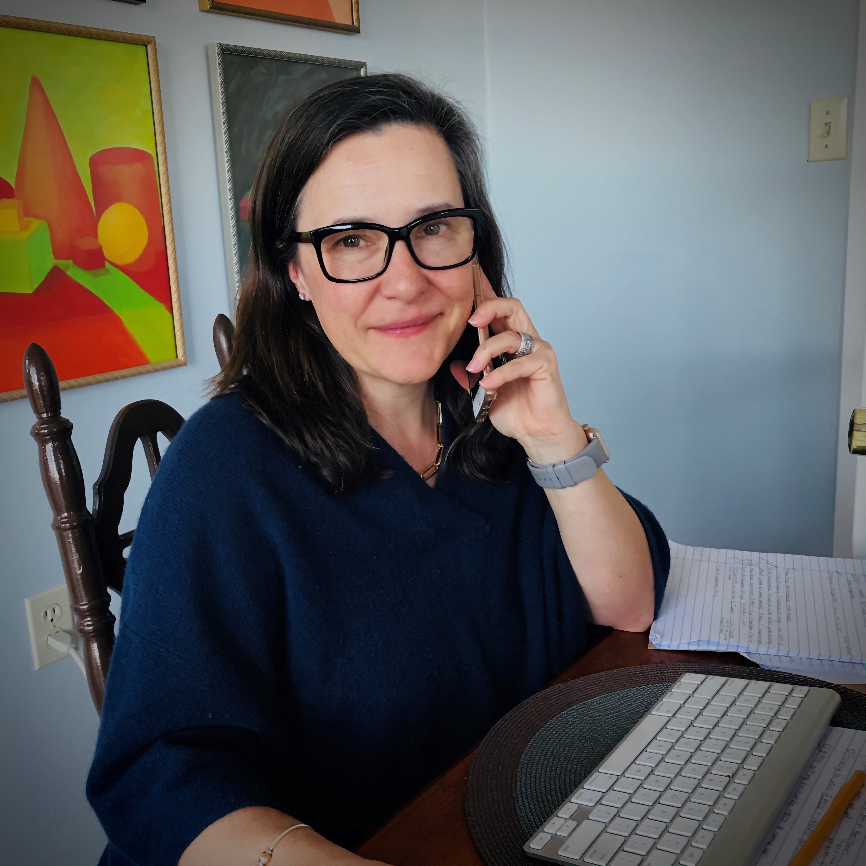 Mollie Forrester works from her home office on April 9, 2020, in Seattle, where she runs a hotline at University of Washington Medicine that helps health care professionals seek mental health counseling as they deal with the coronavirus pandemic.