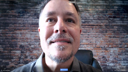 """Larry Becker, the author of """"Great on Camera,"""" offers an example of bad webcam position, when the camera is below where you are looking."""